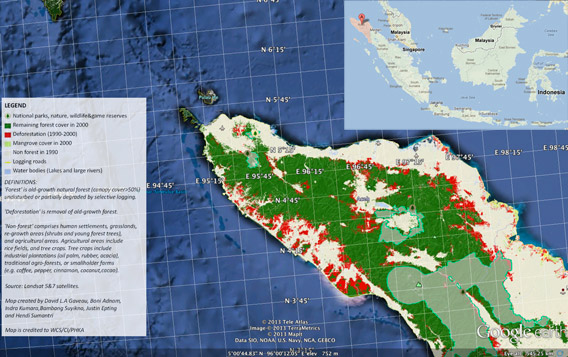 Aceh province, Indonesia. Image courtesy of Sumatran Forest and Google Earth.  Read more at http://news.mongabay.com/2013/0212-aceh-spatial-plan.html#XzbgCrmo6TmOC9gi.99